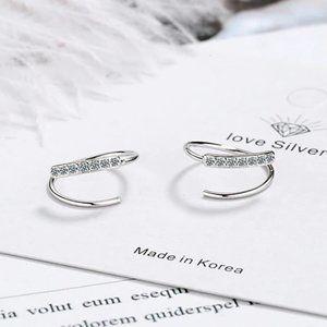NEW Gold/Sterling Silver Diamond Hoop Earrings